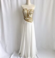 Terani Couture S White Beaded Sequence Bustier Formal Prom/wedding/Pageant Gown