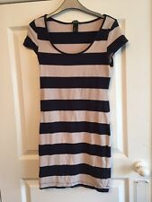 Ladies Beige & Navy Striped Short Dress / Long Top - H&M - Small