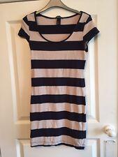 Ladies Beige & Navy Striped Short Dress / Long Top - H&M - Small