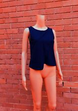 METALICUS ~ 8 ~ Midnight Navy Blue Asymmetrical Cropped Wrap Sleeveless Tank Top