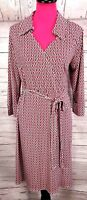 Laundry By Shelli Segal Size L Crossover Front Belted Dress Chains 3/4 Sleeve