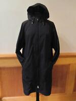 Womens LL BEAN H2OFF Rain Trench Coat Upper Mesh Lined Knee Length Zip BLACK XL