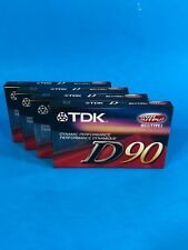 NEW Sealed TDK D90 90 Minute Cassette Tapes lot of 4 New Blank 4pk MB2 1428