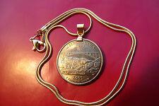 "Sparkling USA Golden 2005 Quarter Coin Pendant on  24"" Gold Filled Snake Chain"