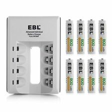 EBL 4 slot AA AAA NI-MH NI-CD Battery Charger + 8 AAA Rechargeable Batteries