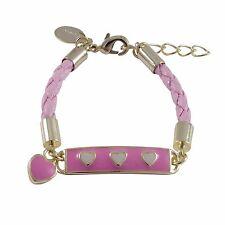 Gold Finish Hot Pink White Enamel Hearts Baby Girls ID Charm Bracelet