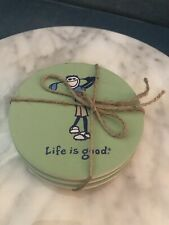 New listing Life is Good golf coaster set Of 4 great for Father's Day