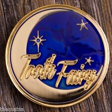 "TOOTH FAIRY BLUE GOLD  ENGRAVABLE 1.75"" CHALLENGE COIN"