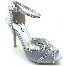 Señoras para mujer Boda Noche De Fiesta Taco Alto Plataforma Bridal Sandalias Zapatos del Reino Unido S4
