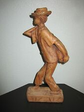 HERNOT VERSAINT HAITIAN WOOD HANDCRAFTED ART SCULPTURE NATIVE YOUNG MAN / KNAP