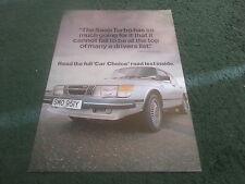 August 1983 SAAB 900 APC TURBO 3 DOOR CAR CHOICE ROAD TEST REPRINT - UK BROCHURE