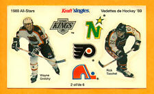 Wayne Gretzky 1989 Kraft Sticker Panel  Rick Tocchet NHL Hockey Mail Away Offer