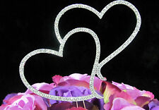 Silver Crystal Rhinestone Double Heart Cake Topper Wedding Engagment Anniversary