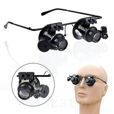 20X Magnifier Eye Glasses Loupe Lens Jeweler Magnifying Repair LED Light Watch y
