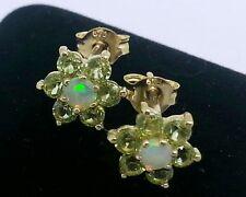 E058 Genuine 9K Yellow Gold Natural Peridot & Opal Blossom Stud Earrings Cluster