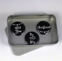 Love, Wedding 'Will You Be My Girlfriend' Magnet Gift Set with Gift Tin Handmade