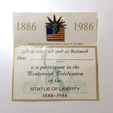Historical Statue Of Liberty Centennial (1886-1986) Commemorative Pin