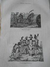 Mineurs à la tranchée Pièce de siège en batterie France Militaire Gravure 1833