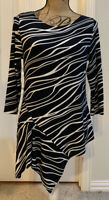 CHICO'S Travelers 3/4 Sleeved Black Striped Asymmetrical Tunic/Top - size 0 (S)