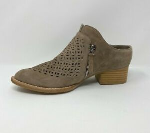 NEW Sbicca Womens Taniss Taupe Tan Suede Laser Cut Shooties Boots Size 7, 7.5, 8