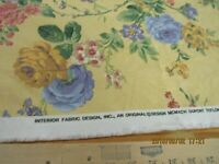 20 YARDS INTERIOR FABRIC DESIGN COTTON UPHOLSTERY PRINT FLORAL YELLOW BACKG