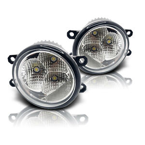 Fit 16 Scion iM 17-18 Toyota iM Clear Replacement LED Fog Light Lamps