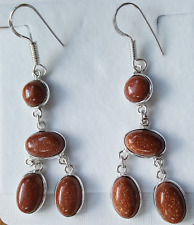 Brown Sandstone Oval Stone Drop Chadelier Dangle 925 Silver Stamped Earrings NEW
