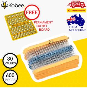 600 Pack 30 Values 1 ohm~ 1M ohm 1% 1/4W Carbon Film Resistor Assorted Kit AU