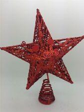 Kraftz ® Natale Xmas Decorazione Glitter Filo e Mesh stella albero Topper-Rosso