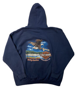Vintage 90s Harley Davidson Hoodie Sweatshirt Mens XL Double Sided Eagle Graphic