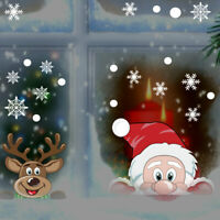 Snowflake Window Cling Stickers Xmas Decals Decor Santa Claus Reindeer Decals