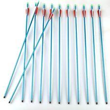 """12pcs 30"""" Blue Aluminium Arrows Target Practice Arrows fit 30-80lb Compound Bow"""