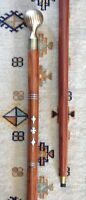 "Brass Knob LUCKY 4-LEAF CLOVER INLAY WOOD CANE ~ Free S/H !  37"" Walking Stick"