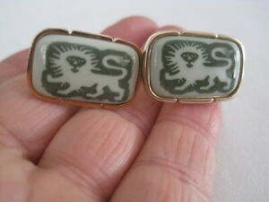 Rare Royal Copenhagen Green Lion Cufflinks