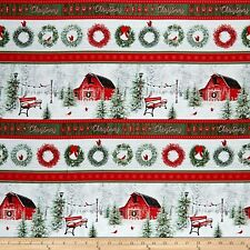 Christmas Fabric - Holiday Wishes Country Barn Wreath Stripe - Henry Glass YARD