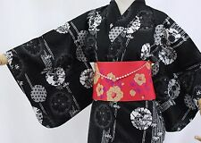 浴衣 Yukata japonais traditionnel - Fleurs Noires - Made in Japan - L SIZE