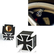 Black Iron Cross Car Auto Wheel Tire Pressure Air Stem Valve Caps Easy to Use