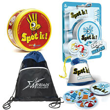 Asmodee Spot It and Spot It Waterproof Party Games with Myriads Drawstring Bag