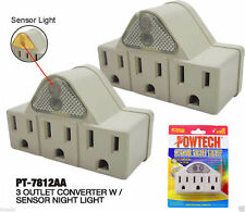 2X 3 Outlet Grounded AC Power Sensor Night Light Wall Tap Adapter UL Listed L84