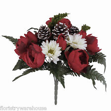 Red & White Christmas Bouquet - Peony, Rose, Gerbera with Cones and Raspberries