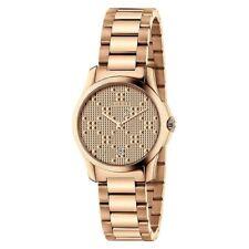 NEW Gucci G-Timeless Pink Gold PVD Textured Dial Women's Swiss Watch YA126567