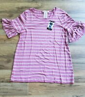 NEW Philosophy Women Pink Grey Striped Ruffle Sleeve M size T-shirt