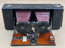 KODAK Hawk-Eye Stereo Brownie Antique Red Bellows camera w/ 120mm Dagor Lens