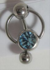 Blue Aqua Crystal Big Ball Pressure Barbell VCH Clitoral Hood Ring 14 gauge 14g