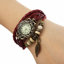 Fashion Quartz Weave Wrap Leather Bracelet Wrist Watch Lady Woman RED