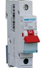 Hager MSN SERIES MINIATURE CIRCUIT BREAKER 1-Pole 63A 6kA C-Curve, Red Toggle