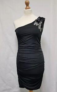 Black Party Dress Size 10-12 Ruched Dress Bodycon One Shoulder Dress Embellished