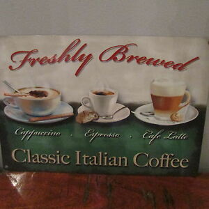 FRESHLY BREWED ITALIAN COFFEE SMALL,MED,LARGE,KITCHEN STEEL WALL PLAQUE TIN SIGN