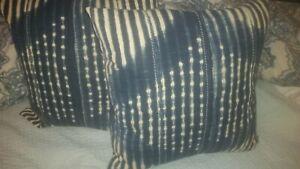 "S/2 Pottery Barn Diamond Shibori 24"" stripe Indigo Blue Pillow Cover insert"