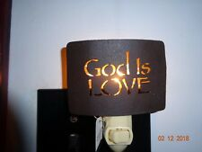 "NEW COLONIAL TIN ""GOD IS LOVE"" METAL NIGHT LIGHT"